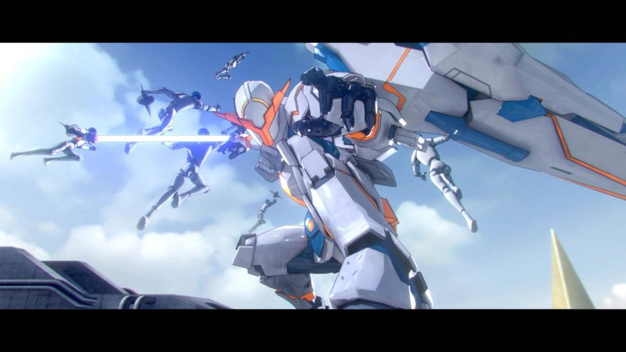 Travis dons a mech suit, and stands holding his beam katana in a cinematic fashion