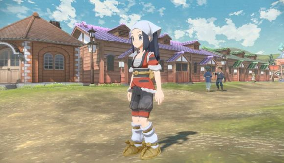 The female protagonist of Pokémon Legends: Arceus is pictured wearing the special Hasuian Growlithe kimono