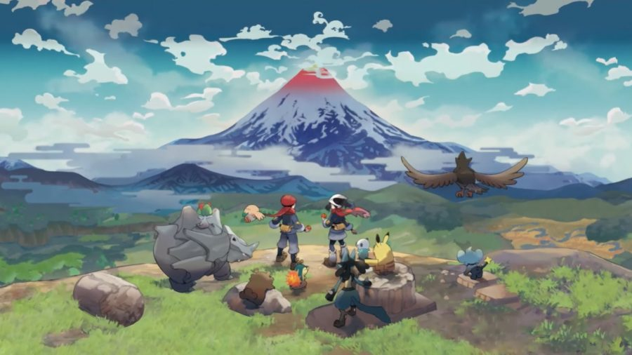 Two Pokemon trainers and several Pokemon stand on a cliff edge, looking at Mt Coronet in the Hisui region