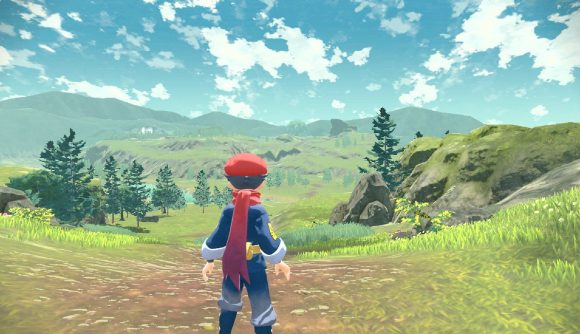 The protagonist stands facing a large field, filled with trees, foliage and Pokémon in the distance