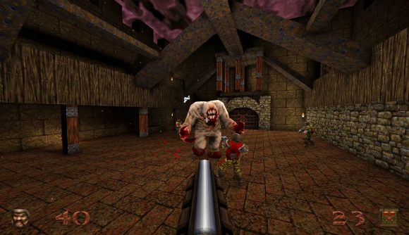 A grim landscape shows several gruesome monsters from a first person perspective, with a shotgun shown being held by the protagonist