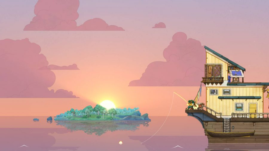 A female character and her cat sit on the edge of a boat, fishing at sunset