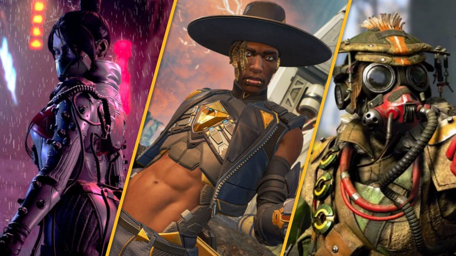 Apex Legends characters Wraith, Seer, and Bloodhound