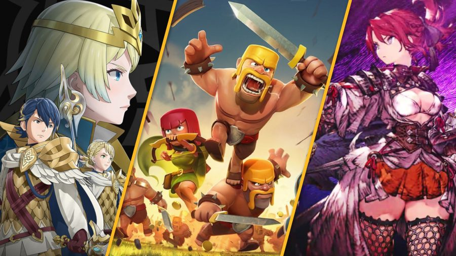 Best Mobile Strategy games from left to right - Fire Emblem Heroes, Clash of Clans, and War of the Visions