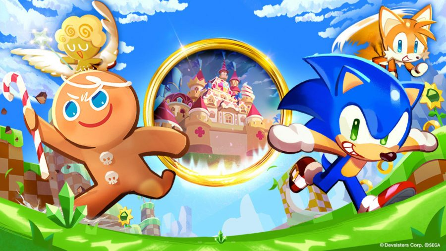 Cookie Run Kingdom Sonic crossover: Sonic, Tails, and Gingerbrave running towards the camera