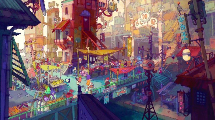 Screenshot from an Eastward cutscene showing a bustling city