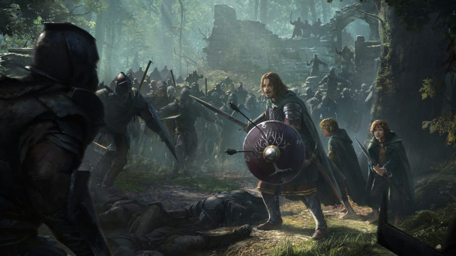 The Lord of the Rings: Rise to war; Breaking of the Fellowship scene showing characters bracing for battle against enemies