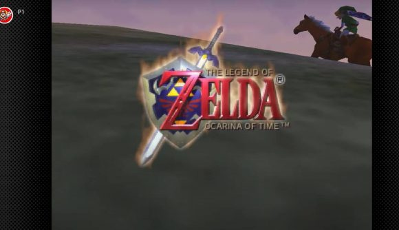 The title screen to The Legend Of Zelda: Ocarina Of Time is shown, with Link riding Epona up a hill.