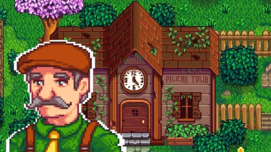 Stardew Valley Lewis in front of the Pelican Town community centre