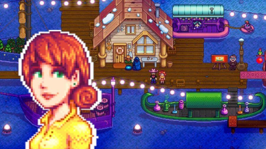 Stardew Valley Penny over a nightmarket scene