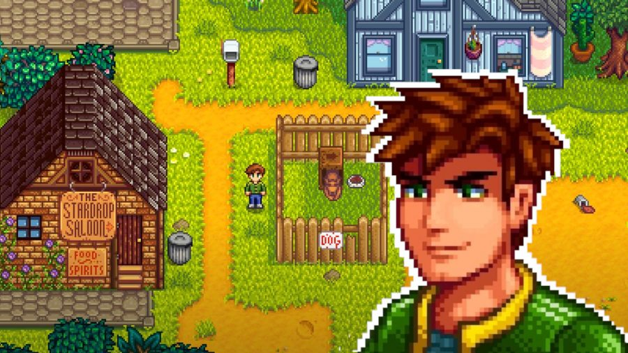 Stardew Valley Alex over a screenshot of him stood by the Stardrop Saloon