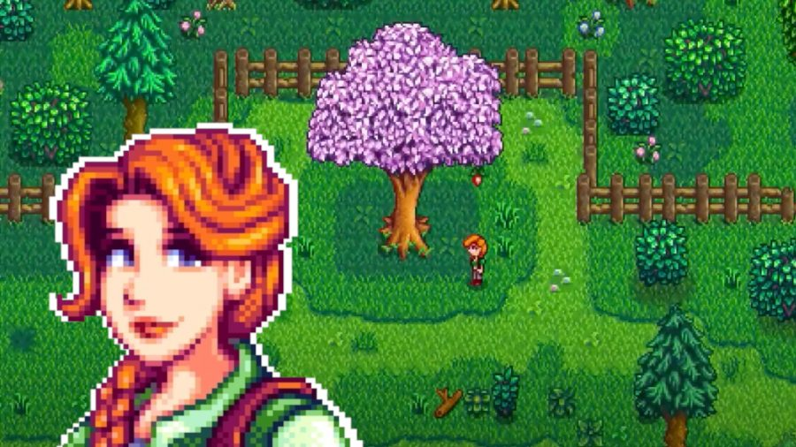 Stardew Valley Leah over a grassy background with a blossom tree