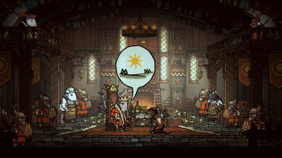 Tails of Iron Switch review; the rat king speaking in pictograms to Redgi in the throne room