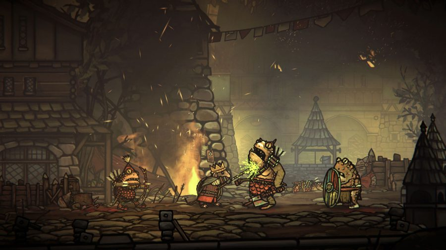 Tails of Iron Switch review; Redgi impaling a frog