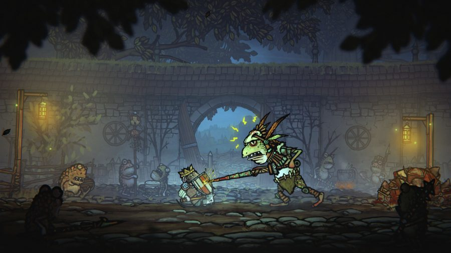 Tails of Iron Swtich review; Redgi fighting one of the frog brothers as a yellow parry prompt appears on screen