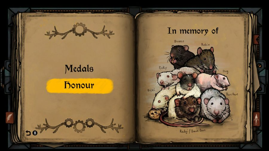 Tails of Iron Switch review; honour page in the menu, showing an illustration of the real-life rats the characters were based on