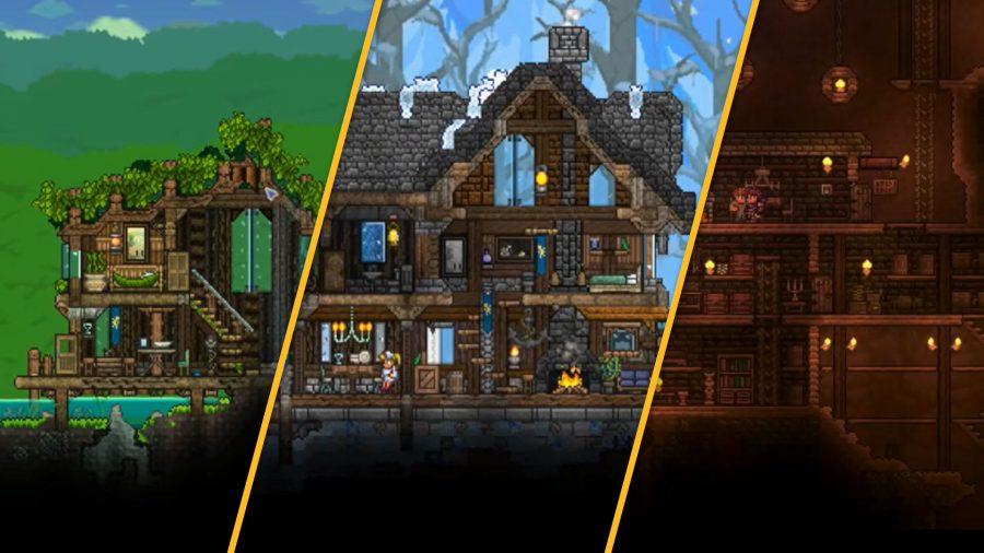 Terraria house ideas; jungle house, snow house, and underground house