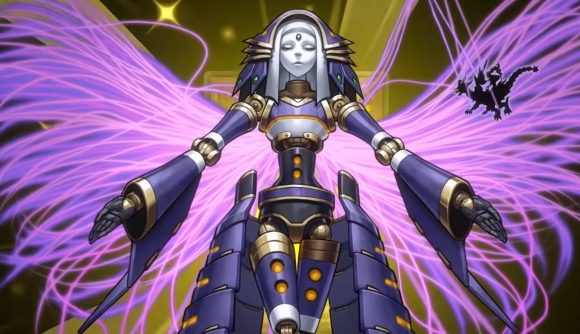 Yu-Gi-Oh! Master Duel release date; an angelic robot with purple wings extending her arms
