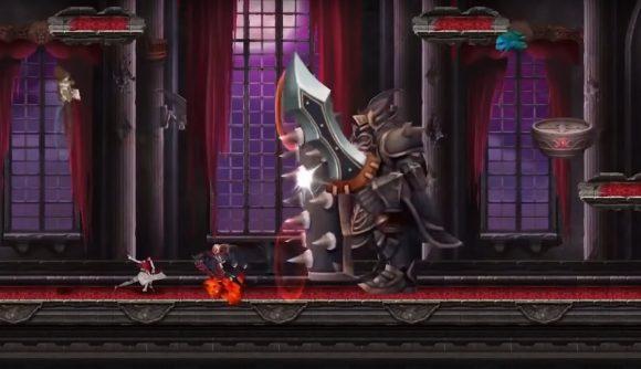 Giant guard fighting against Simon Belmont