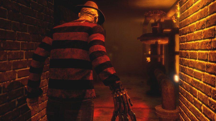 Freddy Kruger walking down a hallway