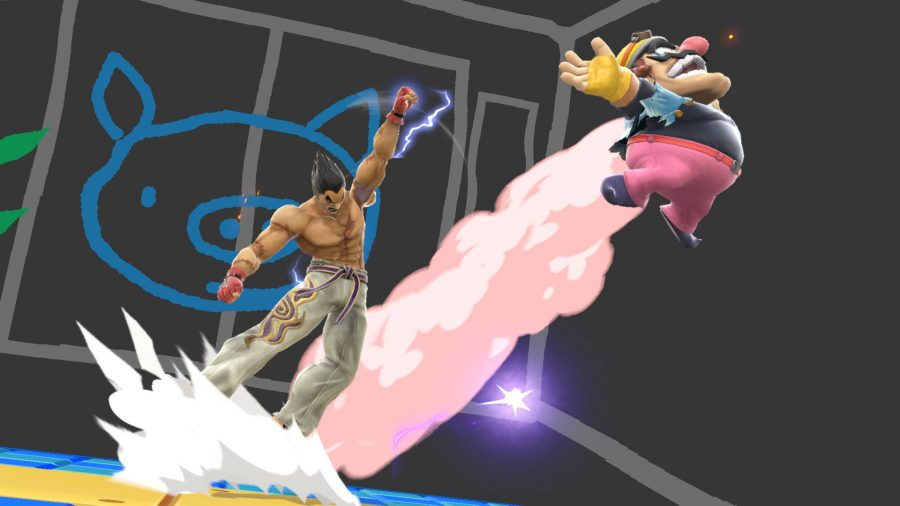 Kazuya from Tekken launches Wario into the air with a powerful punch