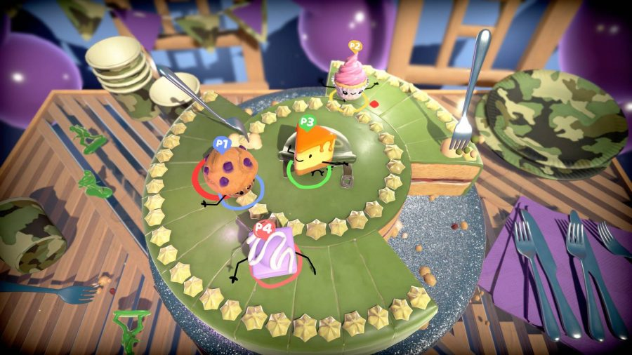 Severl characters, each a different type of cake, are taking part in a minigame