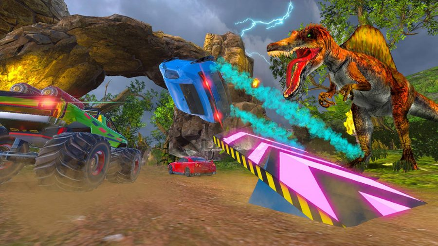 A bright blue car flips sideways after launching from a neon blue ramp, whilst a dinosaur roars in the background