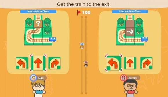 Two players take part in a minigame, where you must choose the right piece of train track needed to guide a train to the station