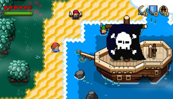 A pixelated landscape shows a young girl standing in front of a huge pirate ship, on a beach
