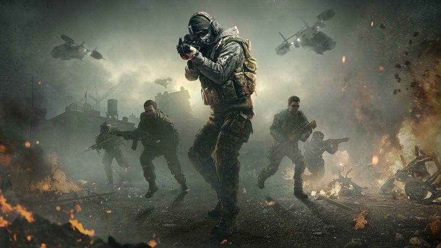 Five men with guns run through smoke