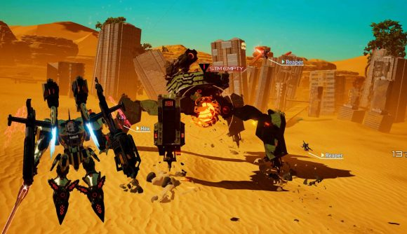 A player is controlling a large mech suit, an Arsenal, against a giant spider-like corrupted robot in a sand dune
