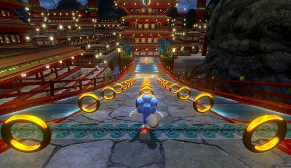Sonic running down a bridge full of rings
