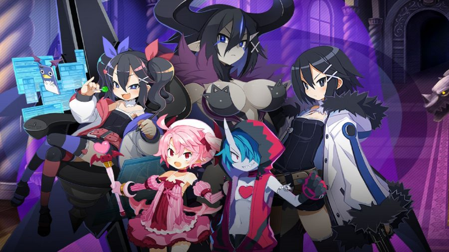 A group of Disgaea RPG characters in a dark castle