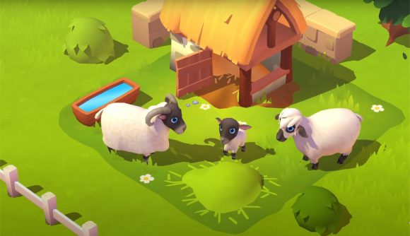 two sheep and a lamb in front of a hut