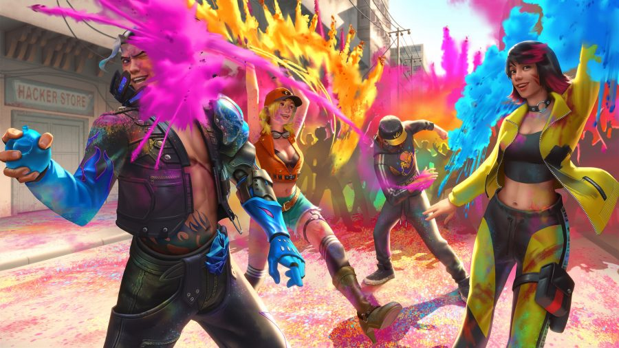 Several character from Garena Free Fire are playing with colourful powders