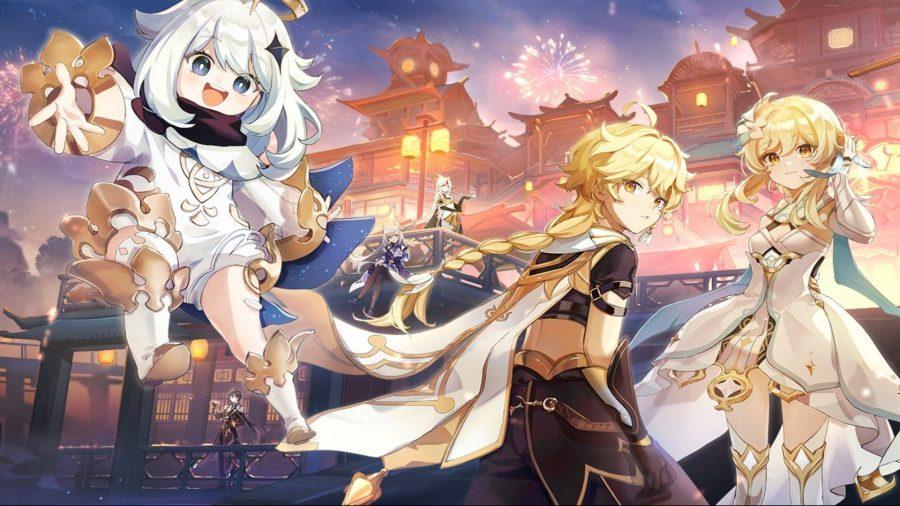 Genshin Impact reroll: Paimon and the Traveler strutting their stuff at dusk
