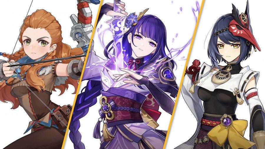 Genshin Impact's Aloy, Raiden Shogun, and Sara against a white background