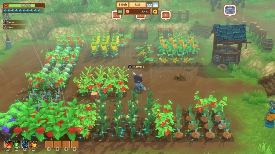 A cat character stands in the middle of a farm, tending to crops