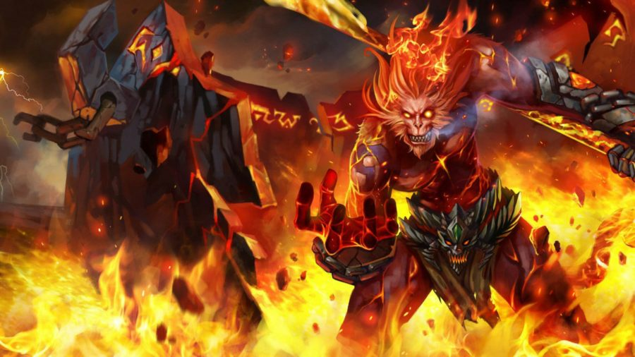 Wukong in his volcanic skin stood in fire