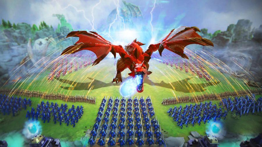 A massive red dragon invades a kindgom