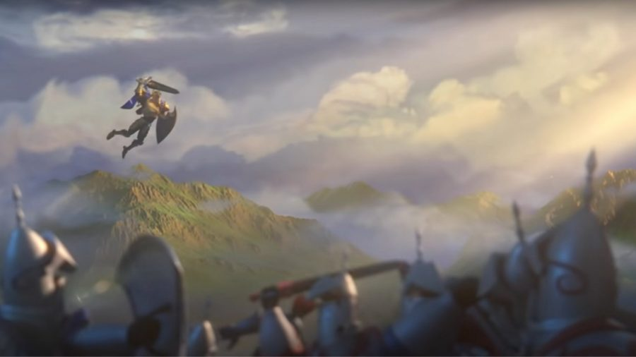 A knight flying through the air