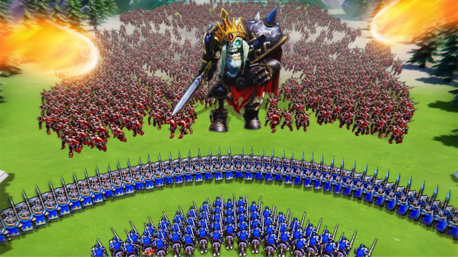 Two armies facing off against each other