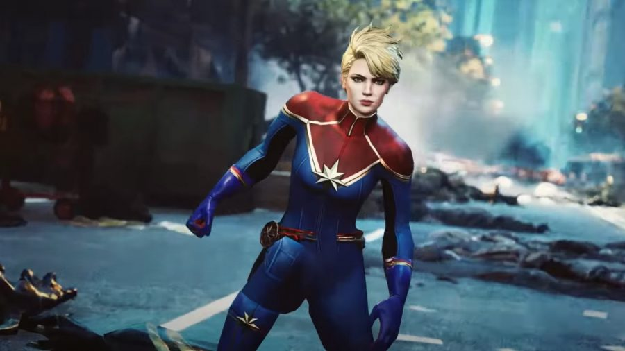 Captain Marvel crouched in the street