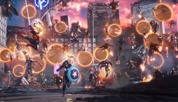 Many heroes running through portals