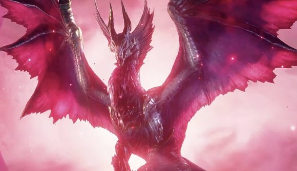 An imposing, gigantic monster spreads their wings against a dark purple and red background. They have horns and frills, almost resembling a vampire