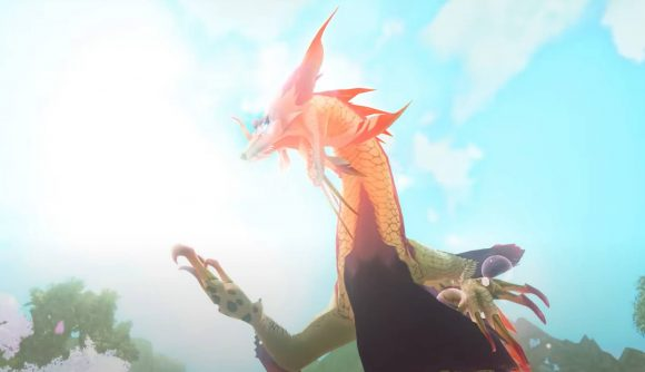 The monster Mizutsune is shown roaring and rearing it's head back