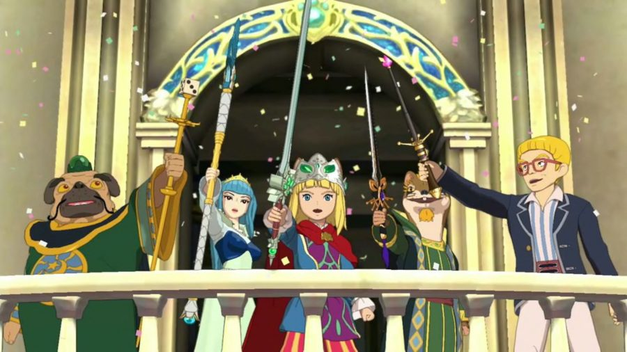 Ni No Kuni II: Prince Evan and companions hold swords aloft in Ding Dong Dell