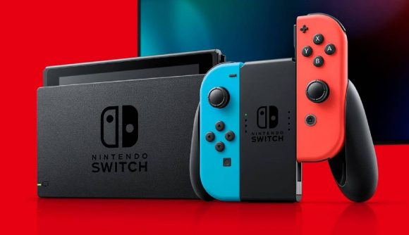 A promotional image shows a Nintendo Switch displayed upright, with the Joy-Cons being snapped into place