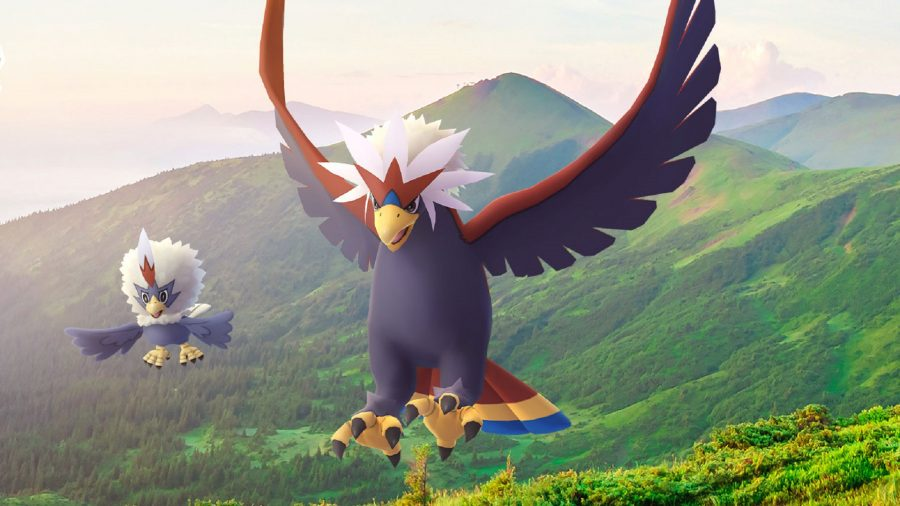 Braviary and Rufflet flying through the sky