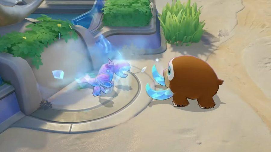 Pokémon Unite's Mamoswine using a move